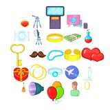 Love icons set, cartoon style. Love icons set. Cartoon set of 25 love vector icons for web isolated on white background stock illustration