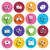 Love icons set in flat style. Stock Photo