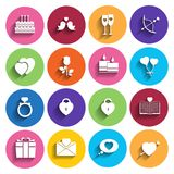 Love icons set in flat style. Royalty Free Stock Images