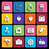 Love icons set in flat style. Stock Photography