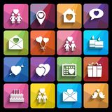 Love icons set in flat style. Stock Photos
