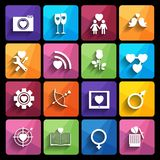 Love icons set in flat style. Royalty Free Stock Photography