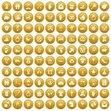 100 love icons set gold. 100 love icons set in gold circle isolated on white vector illustration stock illustration