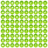 100 love icons set green. 100 love icons set in green circle isolated on white vectr illustration Vector Illustration