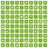 100 love icons set grunge green. 100 love icons set in grunge style green color isolated on white background vector illustration Royalty Free Stock Photo