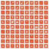 100 love icons set grunge orange. 100 love icons set in grunge style orange color isolated on white background vector illustration Stock Photos