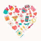 Love icons set in heart shape Royalty Free Stock Images