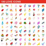 100 love icons set, isometric 3d style. 100 love icons set in isometric 3d style for any design illustration royalty free illustration