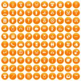 100 love icons set orange. 100 love icons set in orange circle isolated on white vector illustration Royalty Free Stock Photography