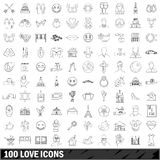 100 love icons set, outline style Stock Image