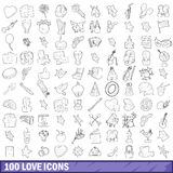 100 love icons set, outline style. 100 love icons set in outline style for any design vector illustration Royalty Free Stock Photos