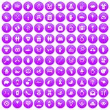 100 love icons set purple. 100 love icons set in purple circle isolated on white vector illustration Royalty Free Stock Photos