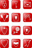 Love Icons Set. Set of red  isons on love theme Stock Image