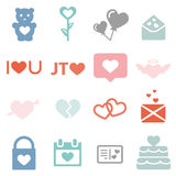 Love icons. Set of love icons, for the valentine's day Royalty Free Stock Photos