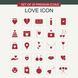 Love icons set vector. For web design and application interface, also useful for infographics. Vector illustration Royalty Free Stock Images