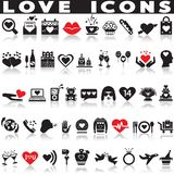 Love icons set. Love icons set on white background with shadow Stock Photography