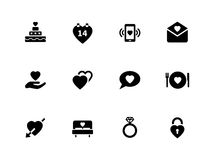 Love icons on white background. Vector illustration Stock Photo