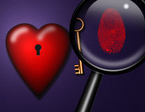 Love ID. Fingerprint and key Stock Image