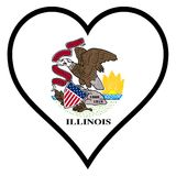 Love Illinois. Illinois state flag within a heart all over a white background Stock Photos