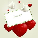 Love illustration. Valentine's Day Concept, lovebirds flying around love hearts stock illustration