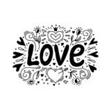 Love illustration in doodle style. Hand lettering for Valentine`s Day. vector illustration