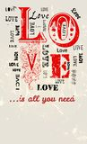 Love illustration, grungy style. Free copy space,valentine's day, vector format royalty free illustration