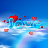 Love. illustration  with red hearts and blue letters Stock Photo