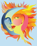 Love. Image of the moon and the sun as a union of love Stock Photo