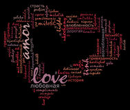 Love info-text cloud various language. And arrangement with heart shape concept Stock Image