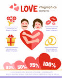 Love infographics. Design elements. Valentine's Day. Date. Man and woman embracing stock illustration