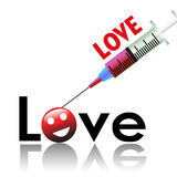 Love injection. Abstract colorful background with a syringe injecting love into the word love Royalty Free Stock Photography