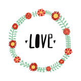 Love ink brush handwritten lettering illustration with flowers and plants circle frame. Stock Images