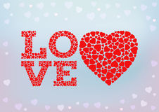 Love inscription with heart symbol. Made of small heart shapes on blue soft background. Happy Valentine's day, wedding, love. Greeting card and invitation Royalty Free Stock Images