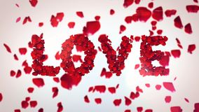 Love Inscription From Rose Petals. A passionate 3d illustration of Love inscriotion made of flying petals of red roses in the white background. The sign Royalty Free Stock Image