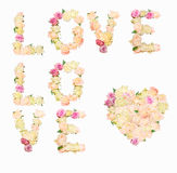Love — inscription of roses. On white background Royalty Free Stock Photography