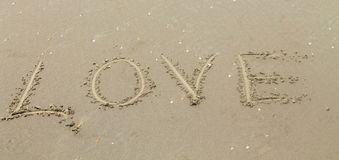 Love the inscription on the sand Royalty Free Stock Images