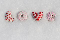 Love the inscription on the snow for the Valentine's Day Royalty Free Stock Photo