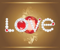 Love. Inscription with strasses and shining ruby. Illustration Stock Images