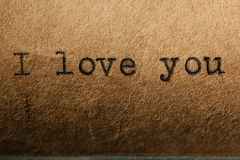 Love is, the inscription on a typewriter Royalty Free Stock Image