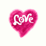 Love inscription on watercolor heart Stock Images