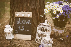 Love is - inscription for wedding Stock Photos