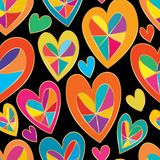 Love inside line style seamless pattern Stock Photos