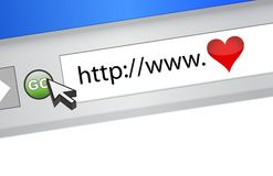 Love internet browser Stock Image