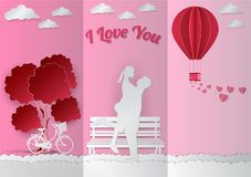 Love Invitation card Valentine`s day abstract background. With text I love you, paper cut style, Vector illustration Royalty Free Stock Image
