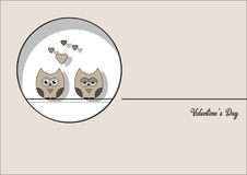 Love Invitation card Valentine`s day abstract background, paper cut mini heart, cut brown owls, loving owls . Vector. Love Invitation card Valentine`s day Royalty Free Stock Image