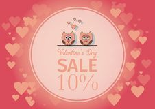 Love Invitation card Valentine`s day , paper cut mini heart, cut owls, loving owls, glare. Frame. Sale day. Vector royalty free stock photography