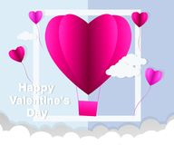 Love Invitation card Valentine`s day abstract background with text love and young joyful,clouds,paper cut pink heart. Vector. Illustration Stock Illustration