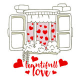 Illustration Love Invitation card Valentine`s day abstract window background with text beautiful love Stock Images