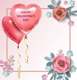 Love Invitation card Valentine`s day balloon heart on abstract background with text . Vector illustration.  Royalty Free Stock Images