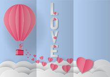 Love Invitation card Valentine`s day balloon and pink heart. On abstract background with text love, Paper cut style. Vector illustration Stock Illustration